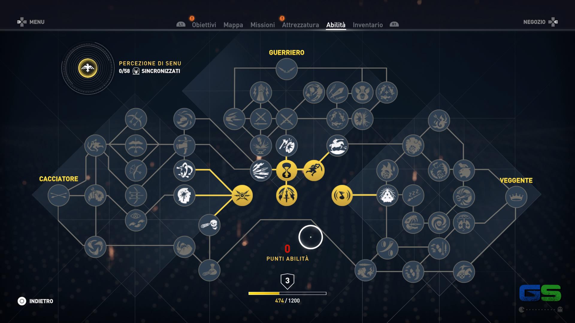 Assassin's Creed Origins - L'albero delle abilità di Bayek