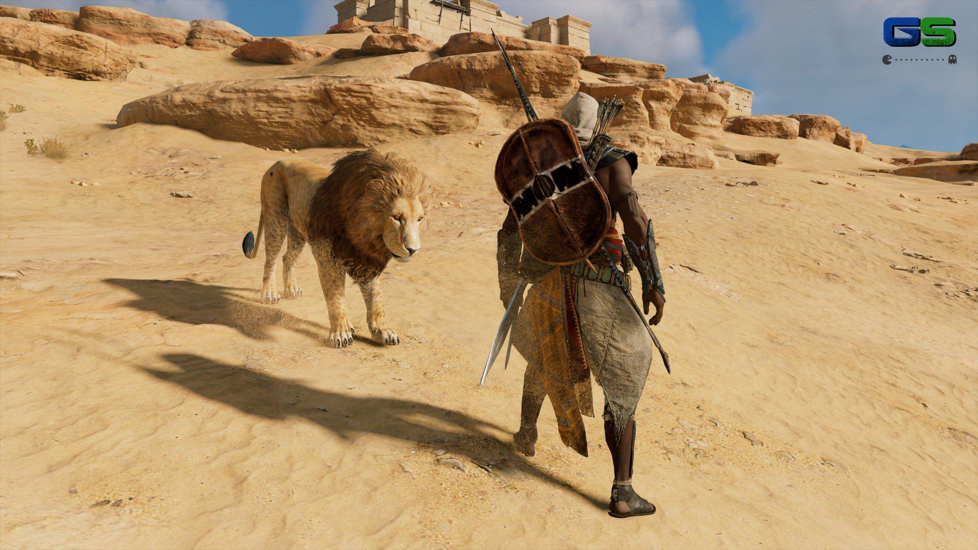 Assassin's Creed Origins - Bayek in compagnia di un leone